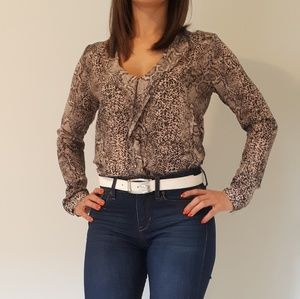 Guess Snakeskin Print Ruffled Blouse